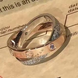 カルティエ(Cartier)のAu750 Cartier リング クリスタル飾り 本物 刻印ロゴ (リング(指輪))