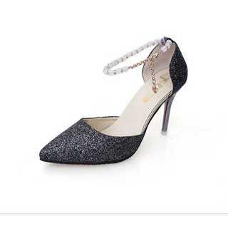 新品送料込★おしゃれパンプス★ベルト付ハイヒール結婚式★靴ブラック24.5cm(ハイヒール/パンプス)