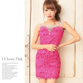 dazzy store - ストーン付き★フラワー総レースミニタイトドレス(チェリーピンク)