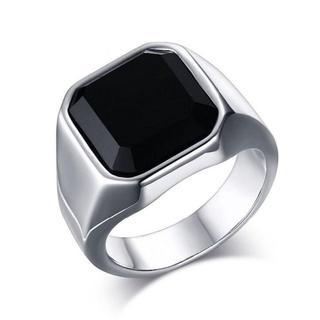 14金ホワイトゴールド仕上げ ブラックオニキス 印台 リング 17号(リング(指輪))