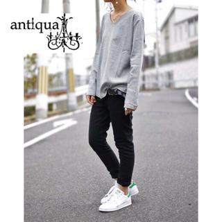 アンティカ(antiqua)の【antiqua】コットンフライス Vネックカットソー F(カットソー(長袖/七分))