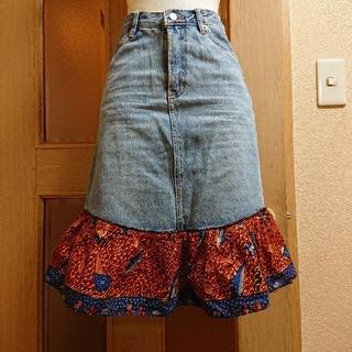 エルロデオ(EL RODEO)のエルロデオ 裾切り替えデニムスカート(ひざ丈スカート)