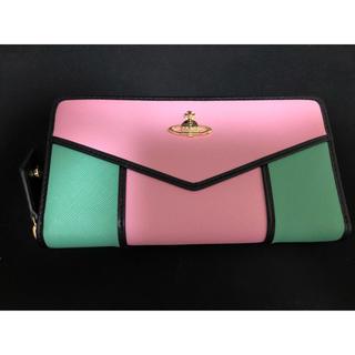 ヴィヴィアンウエストウッド(Vivienne Westwood)のヴィヴィアン サフィアーノレザー 長財布 ピンク×グリーン×ブラックライン(財布)