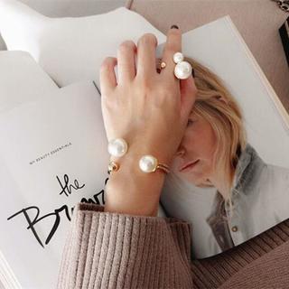 新品 リング バングル 2セット セット売り パール ゴールド 韓国ファッション(リング(指輪))