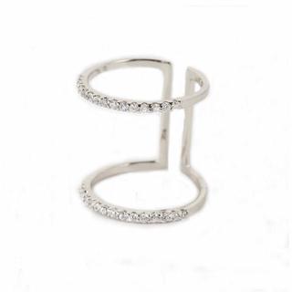 スワロフスキー(SWAROVSKI)のスワロフスキーキュービックジルコニア エタニティー デザイン 2連 リング(リング(指輪))