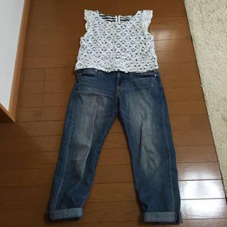 ミスティウーマン(mysty woman)のレースボーダートップス(Tシャツ(半袖/袖なし))