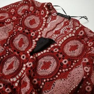 ザラ(ZARA)のZARAザラクロシェ刺繍ヴィンテージマキシワンピースロングドレス(ロングワンピース/マキシワンピース)