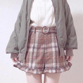 ワンアフターアナザーナイスクラップ(one after another NICE CLAUP)の秋冬♡裾フリルチェックショーパン(ショートパンツ)