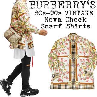BURBERRY - ★希少★BURBERRY★バーバリー★ノバチェック シャツ★スカーフ柄★花柄★M
