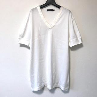 ドルチェアンドガッバーナ(DOLCE&GABBANA)の定5万美品 ドルチェ&ガッバーナ 襟シルク切替コットンVネックTシャツ54(Tシャツ/カットソー(半袖/袖なし))