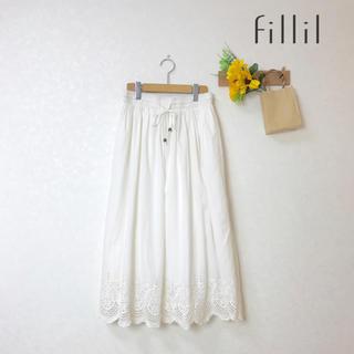 merlot - 新品✨スカラップ レース 裾 ロングスカート ナチュラン掲載