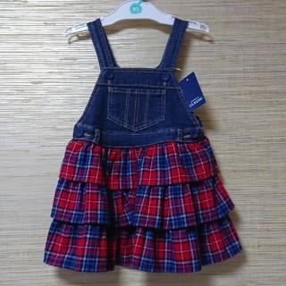 ニシマツヤ(西松屋)のデニム チェック ワンピース ジャンパースカート サイズ 95 cm(ワンピース)