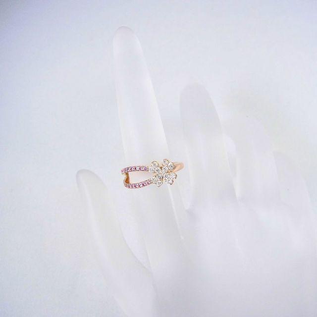 K18 ダイヤピンクサファイア クローバーピンキー リング 4号 [f38-6] レディースのアクセサリー(リング(指輪))の商品写真