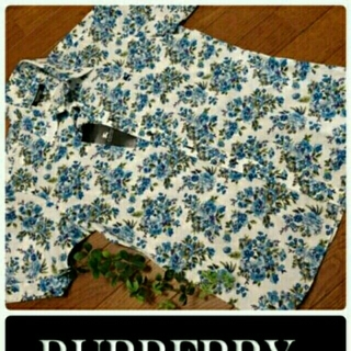 バーバリー(BURBERRY)の新品タグ バーバリーブラックレーベル Flower 加工 メンズ 半袖シャツ(シャツ)