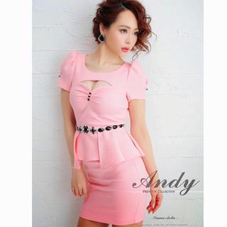 Andy - 2,6万 andy ビジュー ペプラム ミニ ドレス 美品 ピンク キャバ
