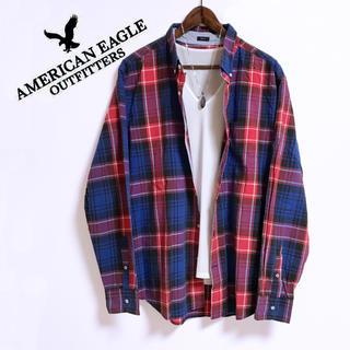 American Eagle - AMERICAN EAGLE チェックシャツ 長袖シャツ ウエスタンシャツ 赤青