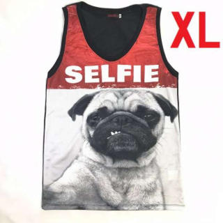 XL パグ セルフィー おもしろ バスケ タンクトップ 白 赤 犬 おしゃれ(タンクトップ)
