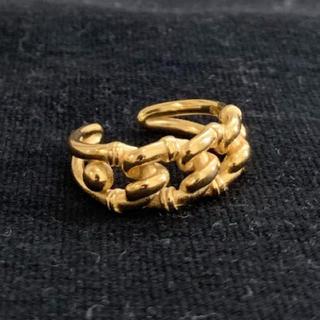 シルバー925×18k  チェーンデザインリング ゴールド(リング(指輪))