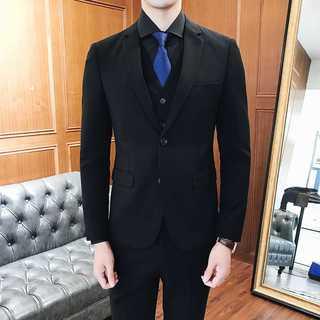 メンズスーツセットアップ人気ホスト定番ビジネス司会者スリム紳士服黒 OT062(セットアップ)