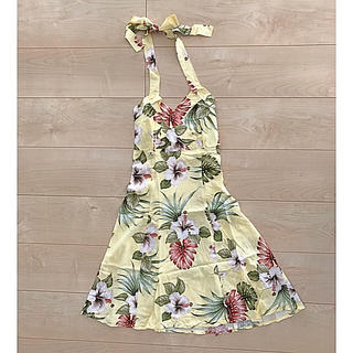ハワイ ワンピース  ホルターネック ドレス(ミニワンピース)