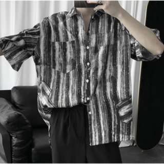 縞模様  ストライプシャツ 韓国(Tシャツ/カットソー(半袖/袖なし))