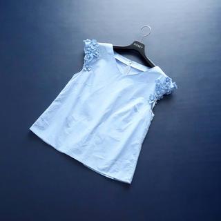 ANAYI - ■アナイ■ 38 ライトブルー 肩フラワー ブラウス ANAYI