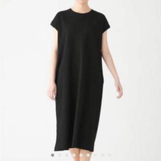 MUJI (無印良品) - 新品   無印良品   太番手天竺編みフレンチスリーブワンピース 黒
