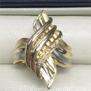★大きめの20号★K18&Pt900  ピンクゴールド・デザインリング★6.5g(リング(指輪))