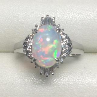 ★大きめの20号★プラチナPt900オパール&ダイヤモンドリング★1.85ct(リング(指輪))