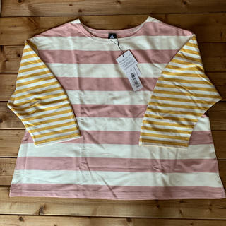 merlot - 《新品》merlot  ミックスボーダー ロング Tシャツ 七分袖
