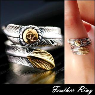 フェザー リング 指輪 精霊 ココペリ 羽根 イーグル フリーサイズ 男女兼用(リング(指輪))