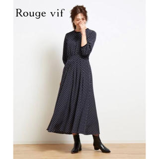 ルージュヴィフ(Rouge vif)の【Rouge vif】ドットロングワンピース 36 美品(ロングワンピース/マキシワンピース)