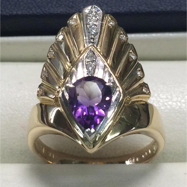 ★大きめの20号★K18&Pt900アメジスト・ダイヤモンドリング★1.00ct レディースのアクセサリー(リング(指輪))の商品写真