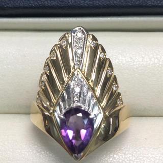 ★大きめの20号★K18&Pt900アメジスト・ダイヤモンドリング★1.00ct(リング(指輪))