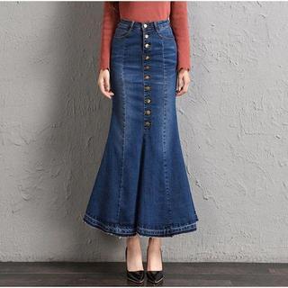 新品★36インチ(大きいサイズ)デニムマーメイドデザインの可愛いスカート(ロングスカート)