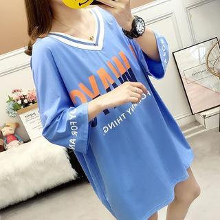 大きいサイズ レディース Vネックトップス(Tシャツ(長袖/七分))