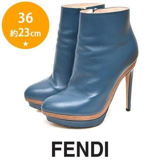フェンディ(FENDI)のフェンディ バックロゴ ショートブーツ ブーティー 36(約23cm)(ブーツ)