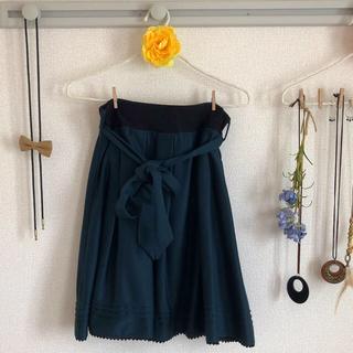 しまむら - リボンベルト付きラップ風スカート(モスグリーン)