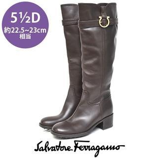 サルヴァトーレフェラガモ(Salvatore Ferragamo)のサルヴァトーレフェラガモ ガンチーニ ロングブーツ 5 1/2D(ブーツ)