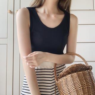 ロキエ(Lochie)のrib black tt(Tシャツ/カットソー(半袖/袖なし))