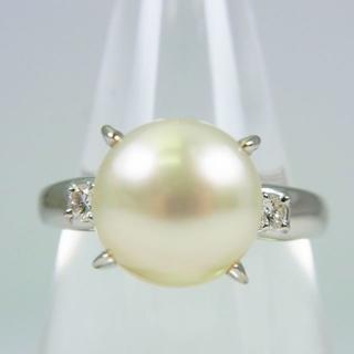Pt900 南洋白蝶真珠 ダイヤモンド リング 16.5号[f39-3](リング(指輪))