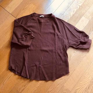GU - GU カットソー トップス 五分袖 半袖 長袖 茶色 ブラウン