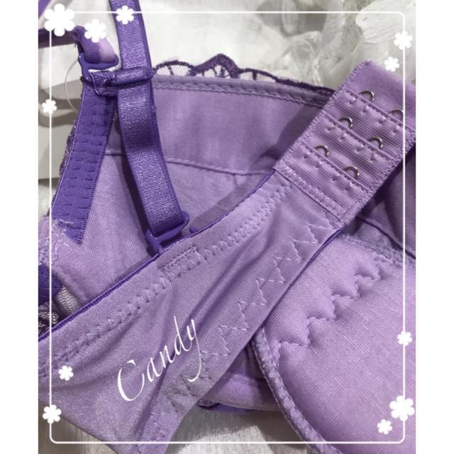 D75❤️豪華エレガント刺繍sexyパープルTバック❤️ブラジャー&ショーツ   レディースの下着/アンダーウェア(ブラ&ショーツセット)の商品写真