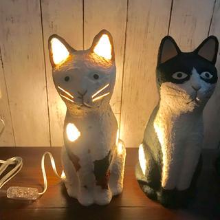 お得!おしゃれ☆猫ちゃん和紙ランプ(三毛)