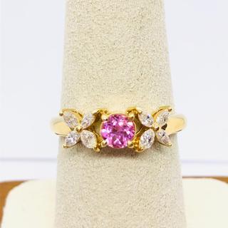 K18 ダイヤモンド / ピンクサファイア リング 0.33ct 0.34ct(リング(指輪))