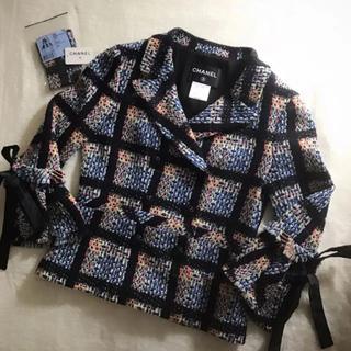 シャネル(CHANEL)の極美品♡  CHANEL  おリボン付 ツイード ジャケット 38 ブルー(テーラードジャケット)