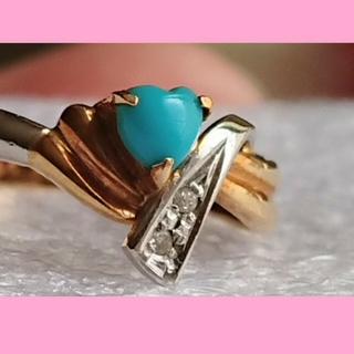 💕K18&Pt900 ハート型 指輪 18金 プラチナ リング ターコイズ