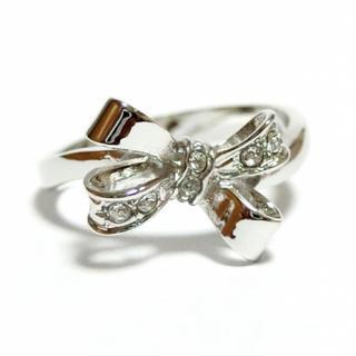 17号 蝶結び リボン スワロフスキー シルバーリング(リング(指輪))