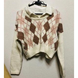 リズリサ(LIZ LISA)のアーガイルドッキングシャツショート丈(ニット/セーター)