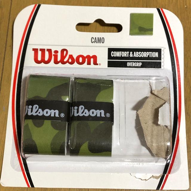 wilson(ウィルソン)の☆ラストです☆ウィルソンカモオーバーグリップ(グリーン) 1本使用残り2本分 スポーツ/アウトドアのテニス(ラケット)の商品写真